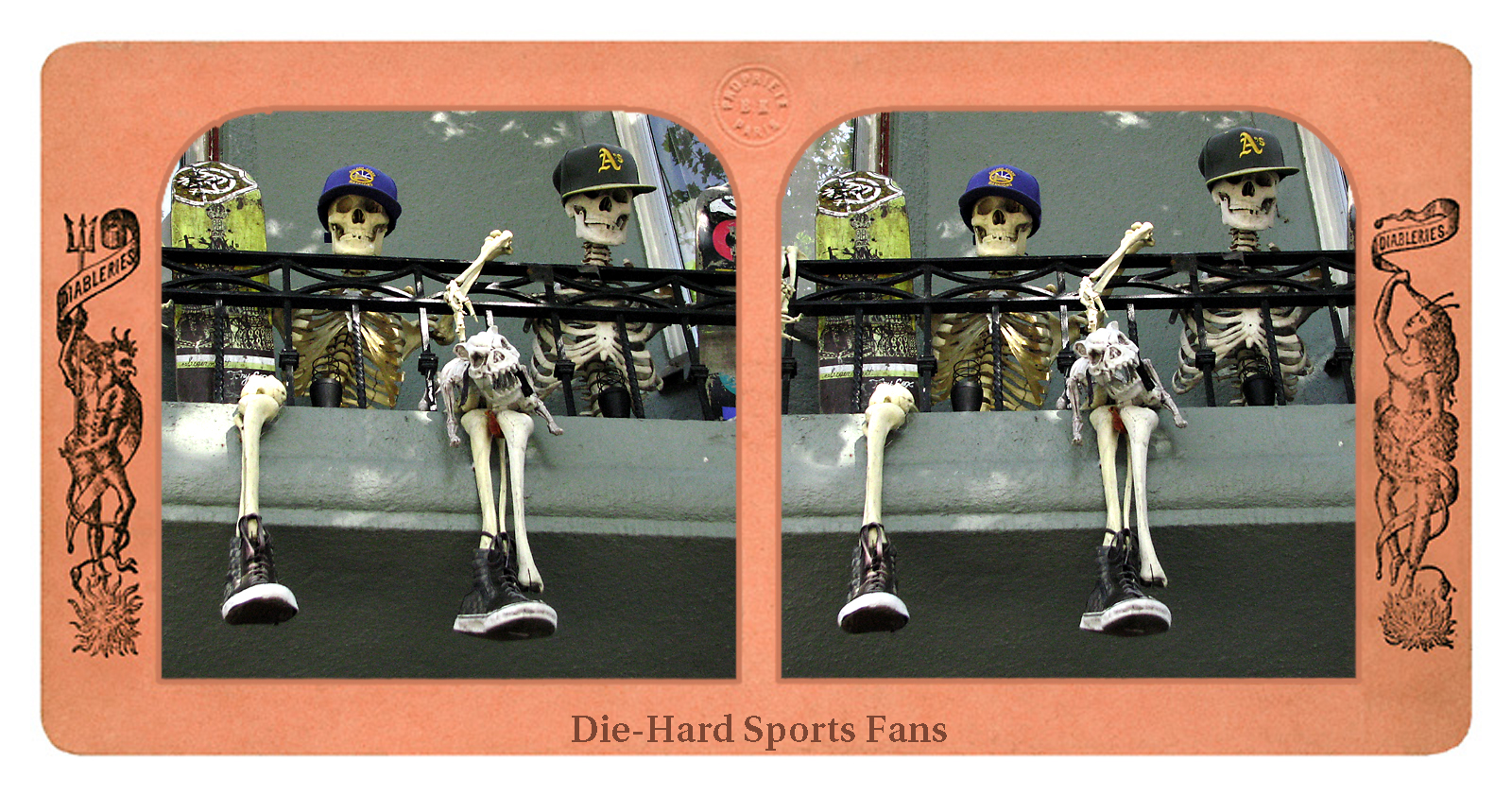 """Die-Hard Sports Fans"" Stereo image with template from London Sterescopic Company"